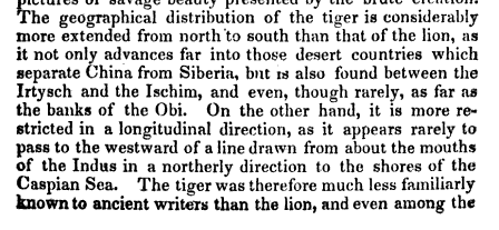 text of old book on the tiger range or distribution